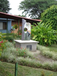July 2013: A monument dedicated to the school's American benefactor. (Alajuela, Costa Rica)